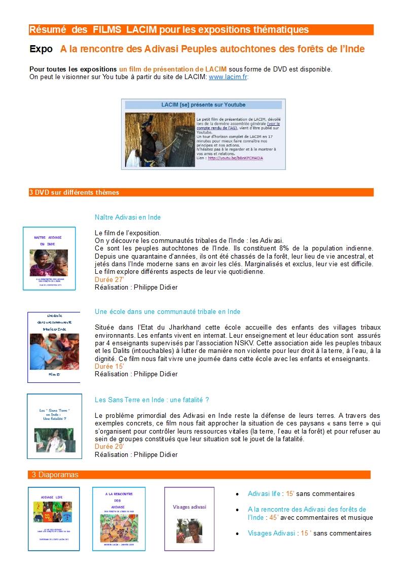 Résumés des films LACIM Inde